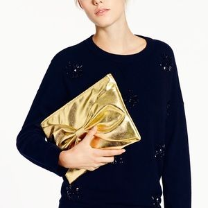 """KATE SPADE """"On Purpose"""" Large Gold Bow Clutch"""